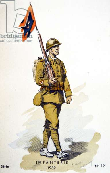 French world war two postcard showing an infantry soldier