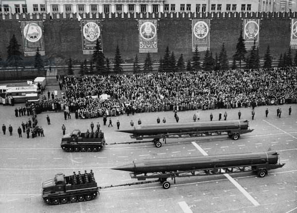 Sandal (Ss-4) Missiles at a 1961 May Day Parade in Red Square, Moscow, USSR, the Ss-4 is a Single-Stage, Liquid-Fuel Irbm with a Choice of Nuclear or Conventional Warheads and a Range of 1, 100 Miles, First Seen in 1961.