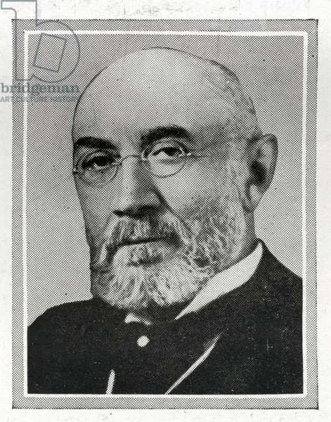 Isidor Straus, passenger on the Titanic, was 67 - born in Rhenish Bavaria on 6th February, 1845. In 1854 he emigrated to the United States settling, with his family, in the town of Talbotton, Georgia. Early in April 1912 Isidor, his wife Ida and their daughter Beatrice had travelled to Europe on the HAPAG Liner Amerika, it was their custom to travel by German steamer wherever possible. For their return (Beatrice was absent) they boarded the Titanic at Southampton, travelling with them were Isidor's manservant John Farthing and Ida's newly employed maid Ellen Bird. The Straus's occupied cabins C-55-57 (ticket number PC 17483, £221 15s 7d).  Isidor Straus and his wife both died in the disaster. The body of Mr Straus was later recovered by the Mackay-Bennett. Titanic was built by Harland & Wolff in Belfast Ireland during 1910 - 1911, and sank on 15th April, 1912, after striking an iceberg off the coast of New Foundland during her maiden voyage from Southampton, England to New York, USA, with the loss of 1,522 passengers and crew. (Photo by Titanic Images/Universal Images Group) Photographie ©UIG/Leemage