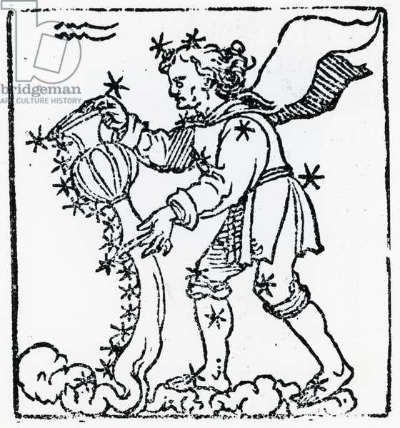 Zodiac sign of Aquarius. From ''Sphaera mundi'', Strasburg, 1539