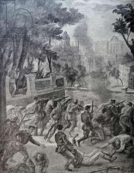 Nationalist soldiers in a street battle in Barcelona