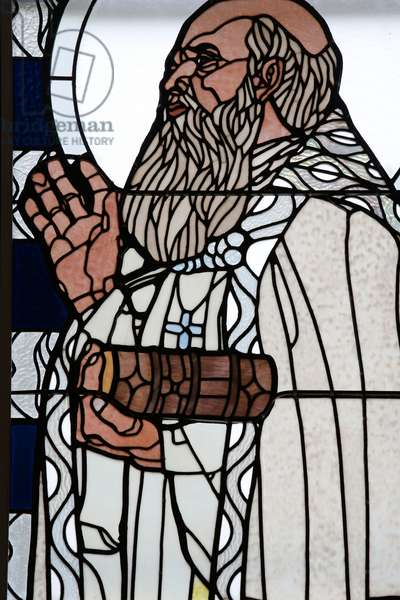 Am Steinhof church (church Leopld), Stained glass by Koloman Moser, Saint Francois (photo)