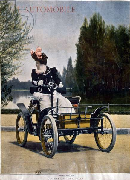 Woman driving a Decauville Automobile