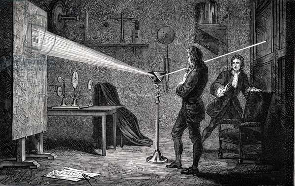 Isaac Newton (1642-1727) English scientist and mathematician, using a prism to break white light into spectrum. With Cambridge room mate John Wickins. Engraving of 1874.