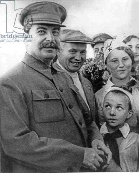 Stalin and Khrushchev on the Shchelkovo Airdrome in 1936-1937.