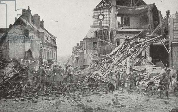 The ruins of the city hall of Roye. 1916 World War One, France