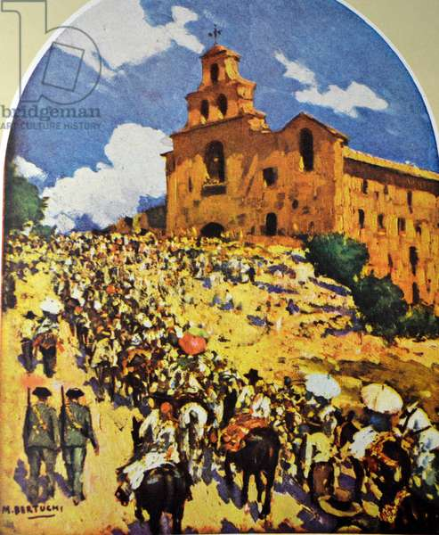 During the Spanish Civil War, Refugees arrive to find shelter at the church of senora de la cabez By M Bertuchi