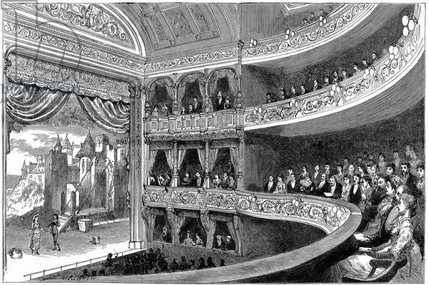 Savoy Theatre, London. House, not stage, lit by Swan incandescent electric lamps. Built by Richard D'Oyly Carte in 1881, it was the home of the Gilbert and Sullivan operattas. Wood engraving, 1881