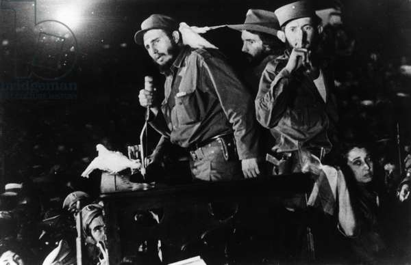 Fidel Castro Ruz Addressing the Cuban People in Columbia City (Later Freedom City) after his Victory, January 1959, Cuban Revolution, Behind Castro, on the Right is Commander Camilo Cienfuegos, Cuban Revolutionary Leader.