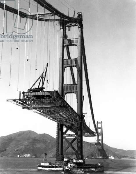 Golden Gate Bridge Work (b/w photo)
