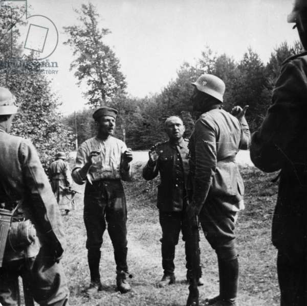Nazi Invasion of Poland, German Soldiers with Polish P, O, W, S in September 1939.