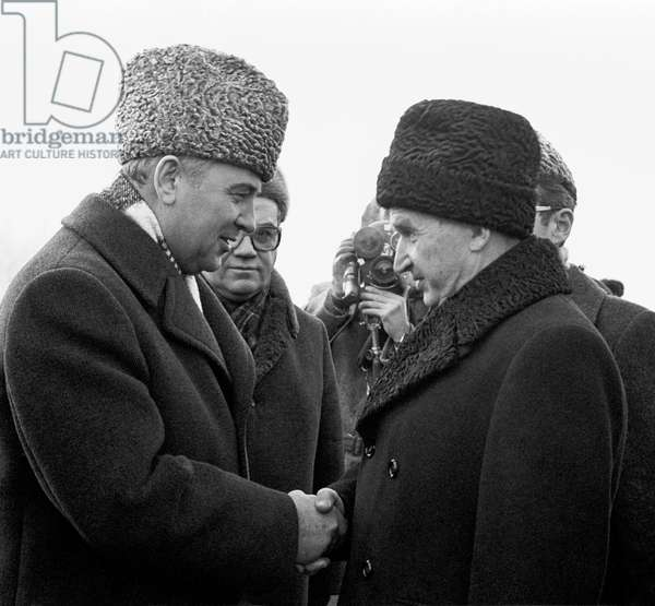 Mikhail Gorbachev And Nicolae Ceausescu In Moscow