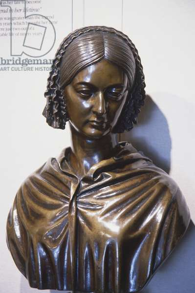 Great Britain, a brass bust of Florence Nightingale lady with the lamp.
