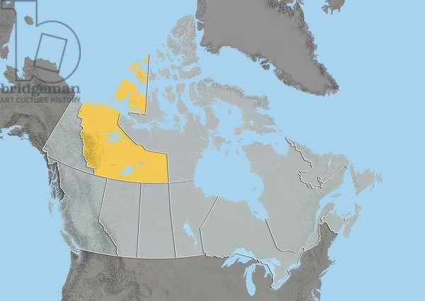 Northwest Territories, Canada, Relief Map