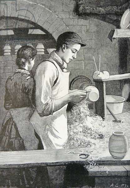 Turning a piece of pottery that has already been shaped on the potter's wheel:  Minton & Company's factory Stoke-on-Trent (The Potteries), Staffordshire, England. Engraving, London, 1885.