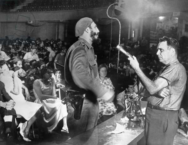 Castro Interviews Insurgents (b/w photo)