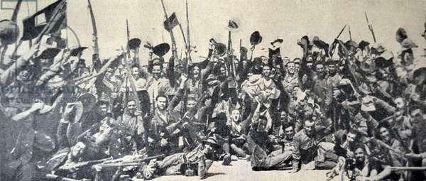 Spanish Civil War: The defenders of Tifaruin, Spain (Nationalist) celebrate 1936
