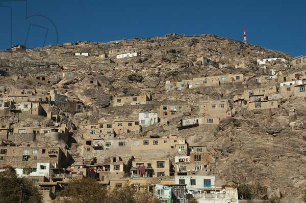 Houses Perched on Karte Parwan Hill in Kabul, Afghanistan (photo)