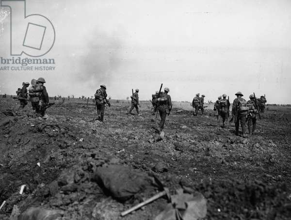 Battle of Morval, 1916 (b/w photo)