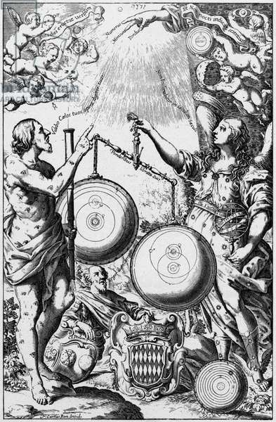 Urania, the Muse of Astronomy, weighing and comparing systems of the universe and giving greater weight to Tycho's system, right, than to that of Copernicus. Ptolemy's system is discarded at her feet. From Riccioli Almagestum Novum, Bologna, 1651.