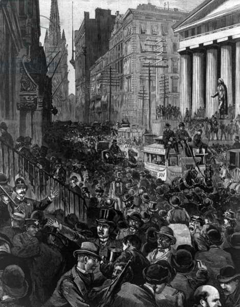 The panic of investors and stockbrokers, in Wall Street Wednesday morning, May 14 1884.