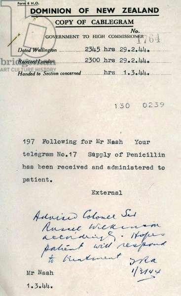 Telegram during World War two