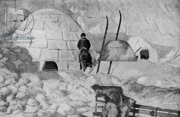 North America. Alaska. Snow huts in a temporary village of Alaskan Eskimos.  1920
