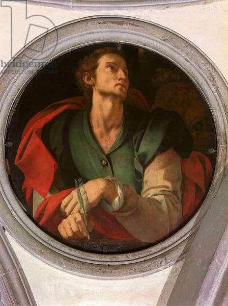 San Luca - Saint Luc - Peinture de Jacopo Carrucci dit il Pontormo (Pontorme) (1494-1556) 1527-1528 Diam 70 cm Florence, Chiesa di Santa Felicita, Cappella Capponi ©UIG/Leemage
