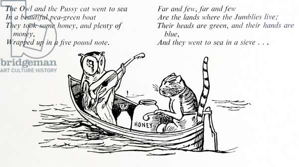 The owl and the Pussycat caracaters by Edward Lear (1812 – 1888) English artist, illustrator, author and poet,
