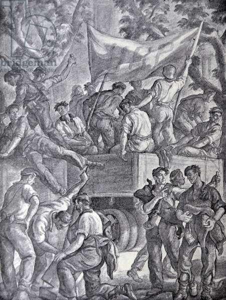 Spanish civil war: The columns of militia came at dawn of Bilbao by J. Valverde