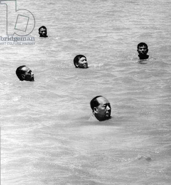 Chairman Mao Zedong swimming in the Yangtze River, China, July 26, 1966