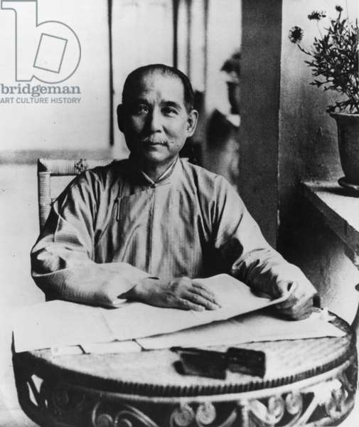 Dr, Sun Yat Sen, Chinese Revolutionary Leader (1866-1925), in his Headquarters in Canton in 1924.