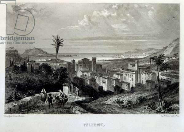 Mediterranean coast off Palermo, Sicily, Italy, 1862. French illustration