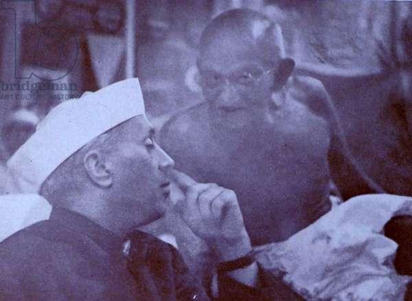 Mohandas Karamchand Gandhi with Jawaharlal Nehru 1945
