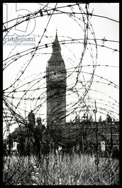 Barbed wire fences in Parliament Square London during World War Two 1942
