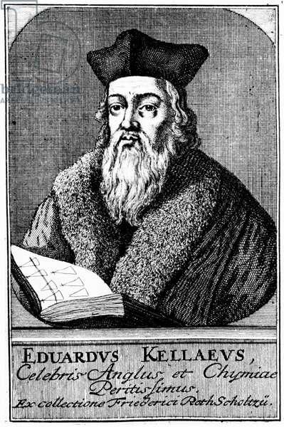 Engraving of Edward Kelley - English astrologer