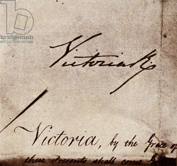 Signature of Queen Victoria of Great Britain, 1845