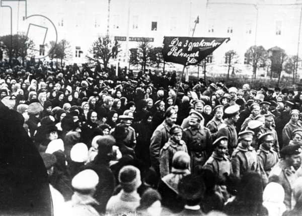 Meeting of Tver Workers During the February Revolution in 1917.
