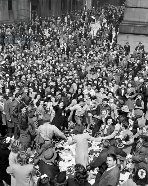 Early VE-Day On Wall Street (b/w photo)