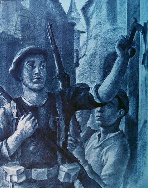 Propaganda illustration showing Communist soldiers conducting a house-to-house search