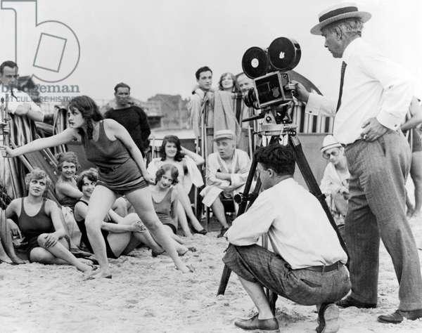 Silent Movie Beach Scene, Los Angeles, California, c.1923 (b/w photo)