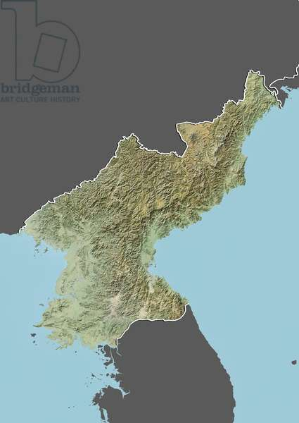 North Korea, Relief Map With Border and Mask