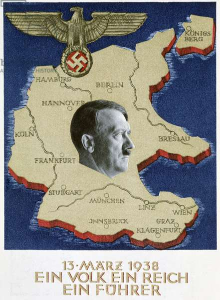 Ein Volk Ein Reich Ein Fuhrer' (One People One State One Fuhrer) Propaganda poster celebrating the announcement of the 'Anschluss' (union) of Germany with Austria under the leadership of Adolph Hitler (1889-1945).