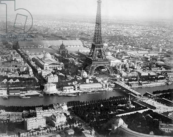 1889 Aerial Of Paris, Paris, France, 1889 (b/w photo)