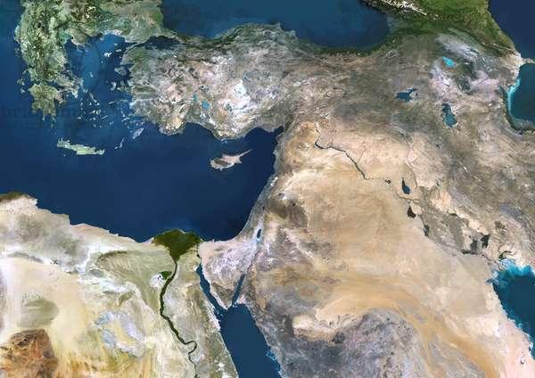 Near East, True Colour Satellite Image