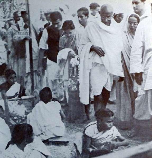 Mohandas Karamchand Gandhi visits Silk makers in Assam 1946