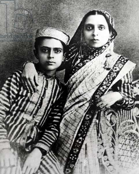 Jawaharlal Nehru with his mother Swaroop Rani Nehru, 1891