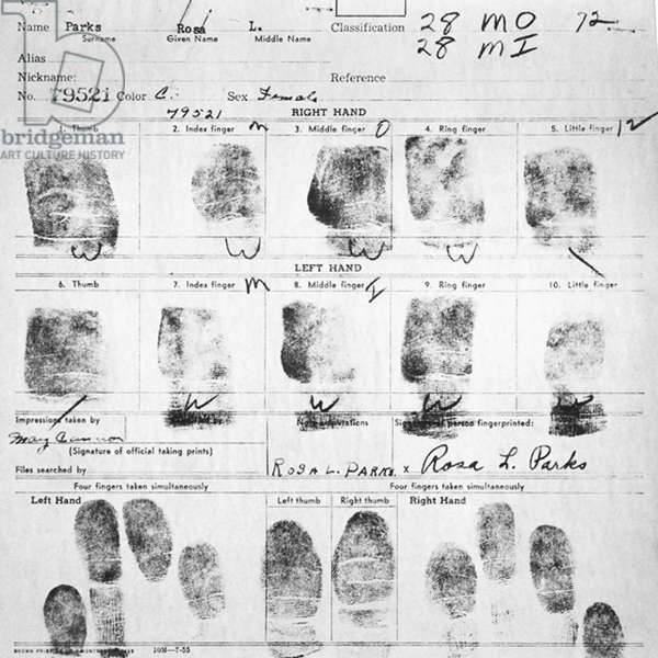 Fingerprint Card of Rosa Parks Civil Case 1147 Browder, et al v. Gayle, et. al: U.S. District Court for Middle District of Alabama, Northern (Montgomery) Division Record Group 21: Records of the District Court of the United States National Archives and Records Administration-Southeast Region, East Point, GA. 1955. Rosa Louise McCauley Parks (1813-2005), American Civil Rights activist was arrested for refusing to move from her seat on a segregated Montgomery bus on 1 December 1955.
