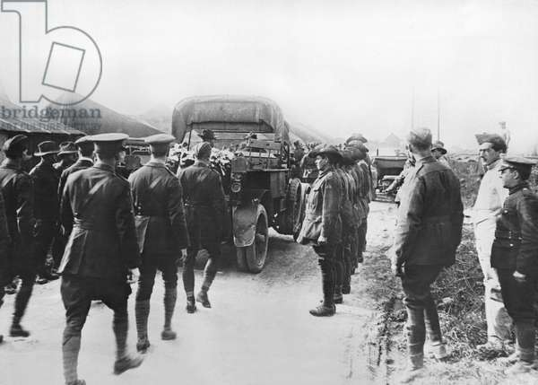 Red Baron Funeral Procession, France, c.1918 (b/w photo)