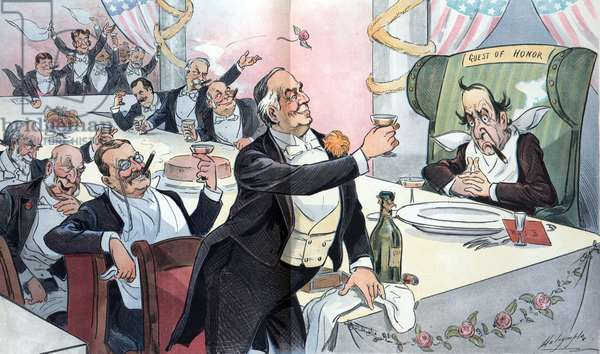President McKinley leading a toast to William Jennings Bryan, 1900